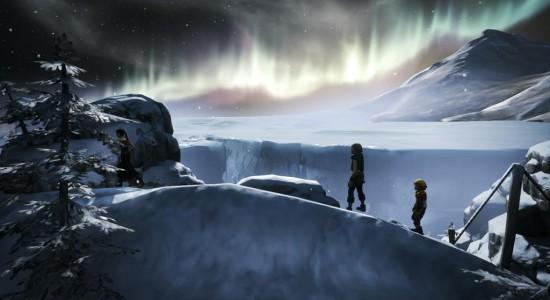 Min bror och jag, norrskenet och...vänta, vad är det för filur framför oss??