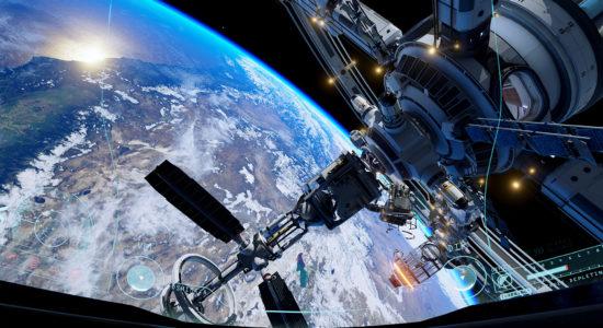 Där i fjärran kan vi se Martin kämpa med Kerbal Space Program.
