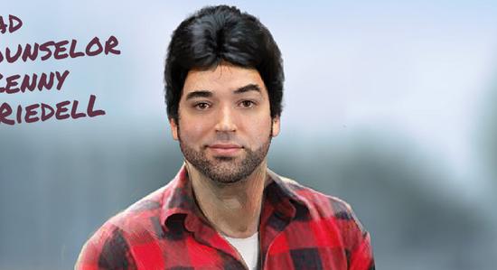 En av de elva lägerledare som man kan välja mellan. Är det jag, eller liknar han Jimmy Fallon?