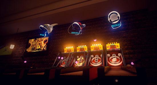 Skee Ball-turnering. Riktigt kul tills kompisen börjar kasta mot dig