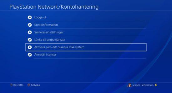 Menyn för hantering av PlayStation Network-kontot