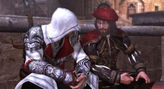 Ezio och Leonardo da Vinci drar rövarhistorier.