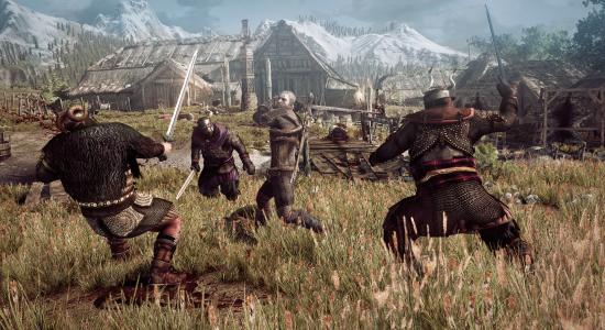 the_witcher_3_wild_hunt_geralt_fighting_multiple_opponents_in_a_village_in_skellige[1]